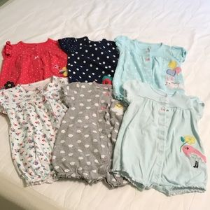 Lot of 6 like new rompers